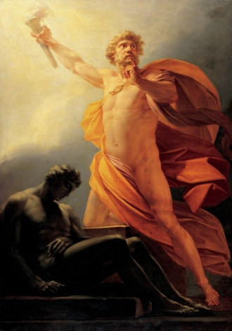 Prometheus brings fire to mankind Heinrich fueger 1817