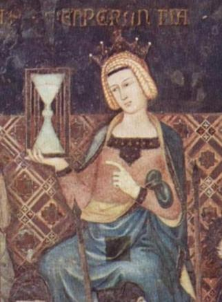 Ambrogio_Lorenzetti Temperance with an hour glass Allegory of Good Government